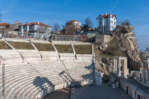 Ruins of Roman theatre of Philippopolis in city of Plovdiv, Bulgaria