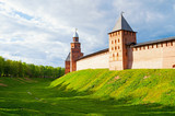Veliky Novgorod, Russia. Towers and walls of Veliky Novgorod Kremlin fortress on the hill in Veliky Novgorod, Russia