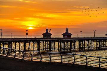sunset, pier, sea, okean, sky,  water. © Lioudmila