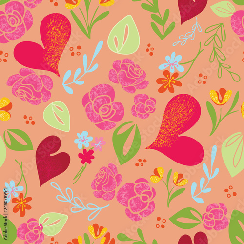 Peach Hearts & Roses Seamless Vector Pattern - 249078954
