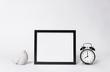 Leinwanddruck Bild - photo frame mock up and clock Interior decor home elements.