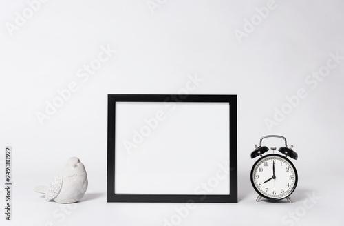 Leinwanddruck Bild photo frame mock up and clock Interior decor home elements.
