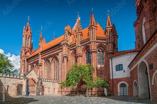 Leinwanddruck Bild St. Anne's church in Vilnius old town, Lithuania.