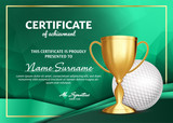 Golf Certificate Diploma With Golden Cup Vector. Sport Award Template. Achievement Design. Honor Background. A4 Horizontal. Illustration