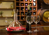 two Wine glass and decanter on a wooden Background in a winery - 249085337
