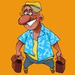 Cartoon cheerful man with a bag in each hand - 249089329
