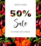 Spring Sale Off Background with Flower Blossom Design Vector - Vector