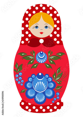 Traditional souvenir Russian floral folk matryoshka doll, Gorodets painting stylization. Birds and flowers, matryoshka babushka. Russian nesting doll girl with a smile. Isolated on white illustration. © cornejavo