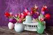 Leinwanddruck Bild - Bunte Tulpen im Fruehling