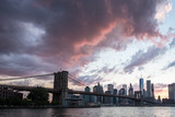 Brooklyn Bridge in New York, NYC with the famous cityscape view