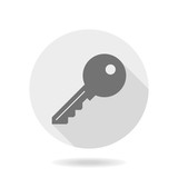 Fine vector gray key icon in the circle. Flat design and long shadow - 249119715