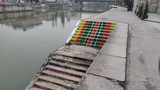 Colorfully painted sidewalk along the Danube - 249120133