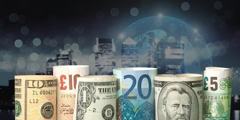 Dollars and euro banknotes on background © BillionPhotos.com