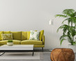 living room with a yellow sofa - 249121565