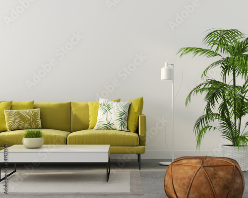 living room with a yellow sofa