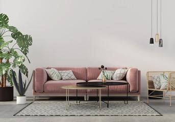 living room in pink with velvet sofa © JZhuk