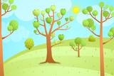 Cartoon Nature Landscape Empty Background