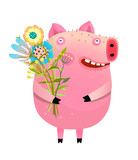 Pig with bouquet of flowers - 249125563