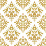 Classic seamless vector pattern. Damask orient golden ornament. Classic vintage background. Orient ornament for fabric, wallpaper and packaging - 249130373