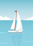 Sailboat in the open sea on the background of clouds and seagulls. Vector illustration