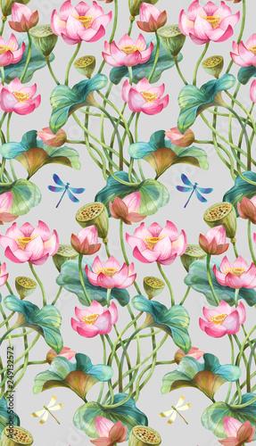 Lotus flowers seamless background pattern. Version 5 - 249132572