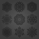 Set of vector snowflakes. Black winter ornaments. Snowflakes collection. Snowflakes for backgrounds and designs - 249133713