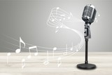 Retro style microphone on  background - 249138336