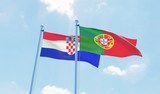 Portugal and Croatia, two flags waving against blue sky. 3d image
