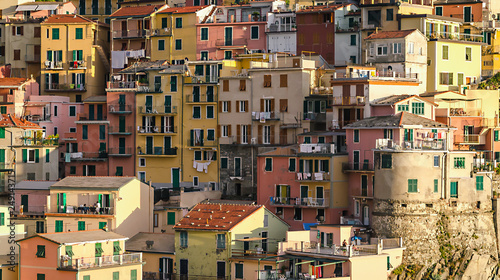 cluster of houses Manarola village in Cinque Terre, Italy