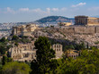 Panoramic view of Athens and Acropolis shot from Hill of Muses at clear summer day