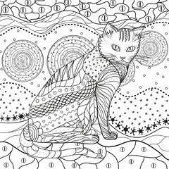 Abstract asian pattern with cat on isolated white. Hand drawn abstract patterns on isolation background. Design for spiritual relaxation for adults. Black and white illustration for coloring