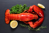 Red lobster with lemon and green on black wooden background