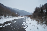 winter landscape with river and snow - 249169579
