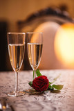 valentines day background with roses and champagne in hotel or restaurant, romantic evening  - 249177987