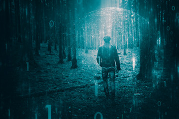 Person walking alone in mystical turquoise colored forest with abstract computer cyberspace binary numbers data background © robsonphoto