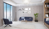 Modern bright living room, interior with sofa, table and lamp - 249194398