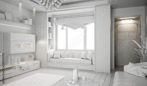 Modern white bright interior with sofa and lamp