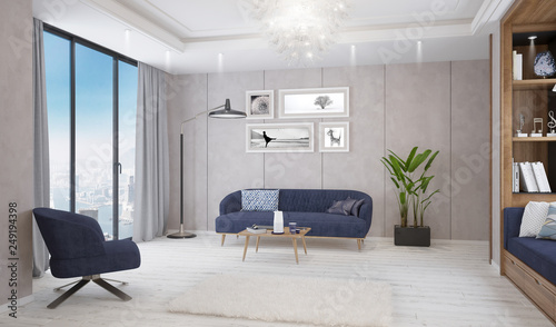 Modern bright living room, interior with sofa, table and lamp © DNY3D