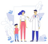 Medicine concept with doctor and family patients on plant background. - 249194527