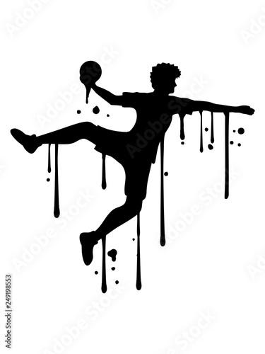 tropfen graffiti farbe spray silhouette umriss handball ball werfen punkten springen einwurf verein fan team mannschaft clipart design mann junge spaß sport cool