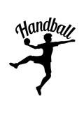 text logo design silhouette umriss handball ball werfen punkten springen einwurf verein fan team mannschaft clipart design mann junge spaß sport cool