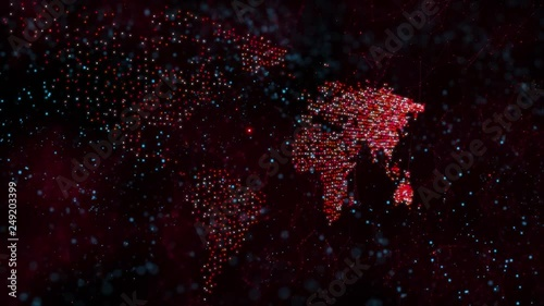 Red colored digital world map dots animation on black background.