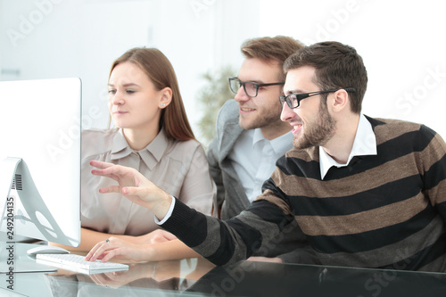 Group business partners discussing new project at meeting in office room