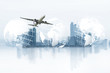 Leinwanddruck Bild -  world logistics, there are world map background and big white airplane is flying for Business trip with Commercial plane, Transportation, import-export and logistics, Travel concept