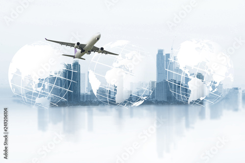 Leinwanddruck Bild  world logistics, there are world map background and big white airplane is flying for Business trip with Commercial plane, Transportation, import-export and logistics, Travel concept