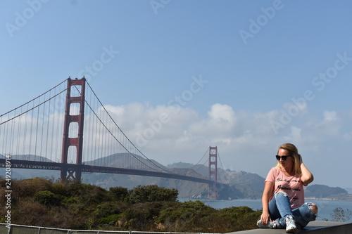 girl near the golden gate bridge