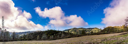 Panorama of fields, meadow in Mountains  - 249216591