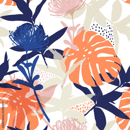Colorful and bright summer Silhouette Abstract seamless pattern with leaves and flowers Background with flowers vector on modern style © MSNTY