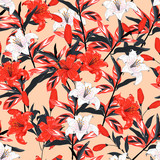 Red and white  Lily flowers  botanical seamless pattern vector design for fashion,fabric,wallpaper,and all prints