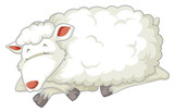 An isolated sheep sleeping - 249230337